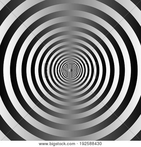 Black and white concentric circles background. vector
