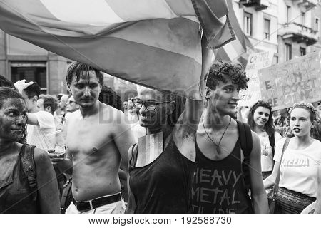 People At Pride Parade 2017 In Milan, Italy