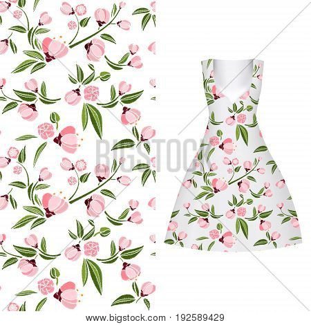 Vector seamless embroidery, floral pattern of leaves and rose on classic women's dress mockup. Vector illustration. Hand-drawn ornate pattern. summer colors: white rose.