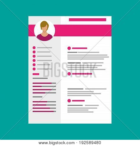 Human resources management concept, searching professional staff, work. Resume template. Vector illustration in flat style
