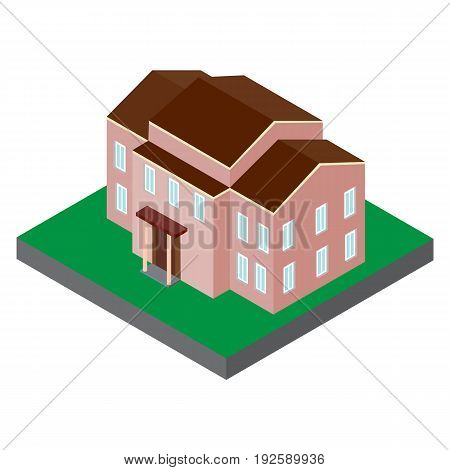 The building in an isometric projection. Vector 3D model of the house to 2 floors