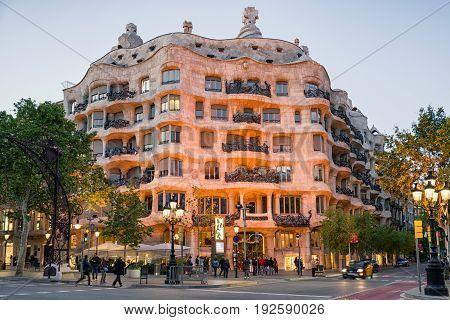 BARCELONA SPAIN - APRIL 20: La Pedrera - house designed by Antoni Gaudi on April 20 2017 in Barcelona