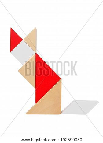 Cat silhouette made from tangram tans isolated on white