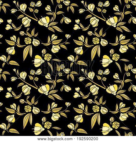 Seamless pattern of gold small flowers like piones on a black background. Embroidery ethnic floral background. line design fashion wearing. Vector vintage, decorative element for patches and stickers