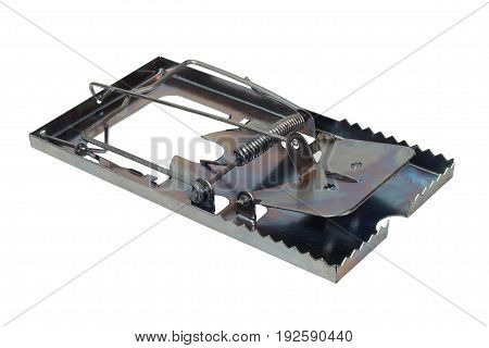 Big steel mousetrap isolated on white background