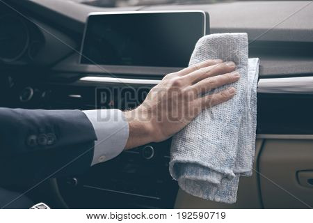 Young business person test drive new vehicle clean surface
