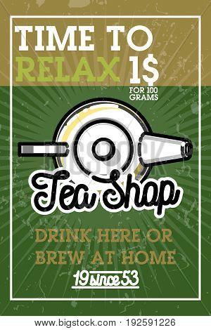 Color vintage tea shop banner. Vector card design with tea. Tea house poster. Vector hand drawn set.