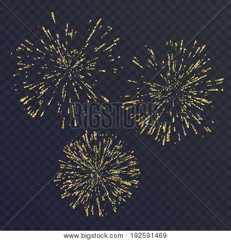 Bright set of three elements, fireworks on a dark background. Vector illustration can be a template for your design