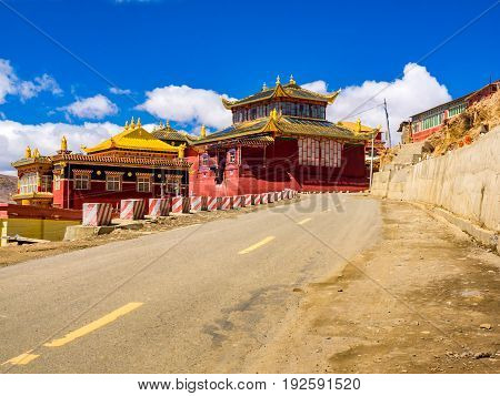 View of tibetan Yarchen Gar Monastery in Sichuan, China