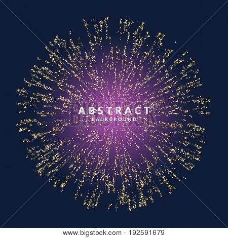 Bright poster with fireworks on a dark background. Vector illustration can be a template for your design