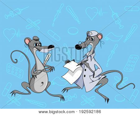 a doctor examines a patient's mouse mouse and writes a recipe