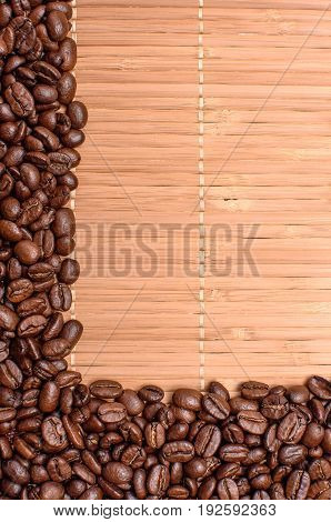 Background Of Bamboo Mat Sprinkled Around The Edges Of Fried Grains Coffee, Space For Text