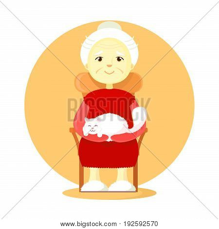 An elderly woman a gray-haired pensioner with a cat on her knees sits in her chair. Resting cartoon style flat.