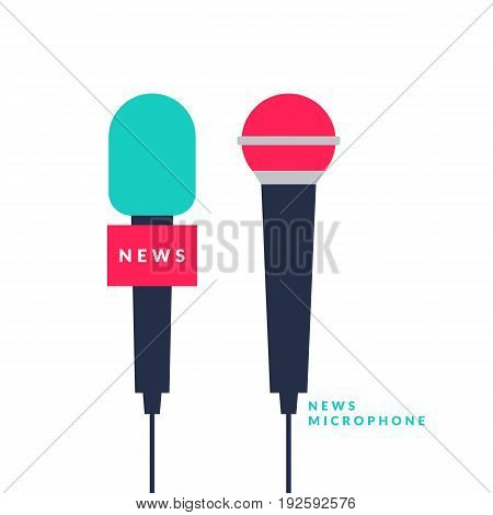 Bright vector poster with news microphones and a field for text on bright background. Vector illustration in flat, minimalistic style.