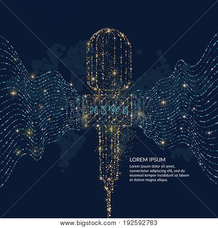 Bright poster with a news microphone, the dynamic waves are made of gold and blue glitter on a dark background with world map. Vector illustration