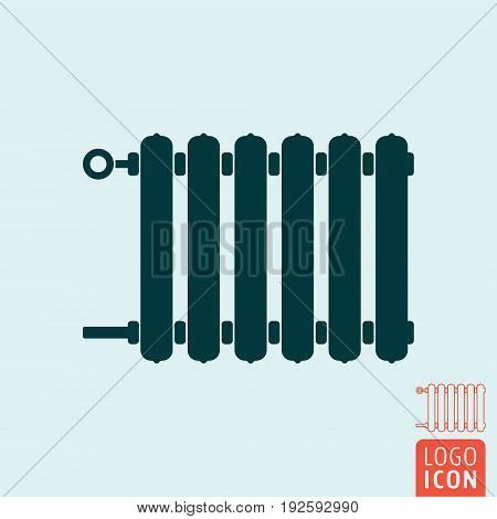 Radiator icon. Heating radiator with adjuster of warming. Vector illustration