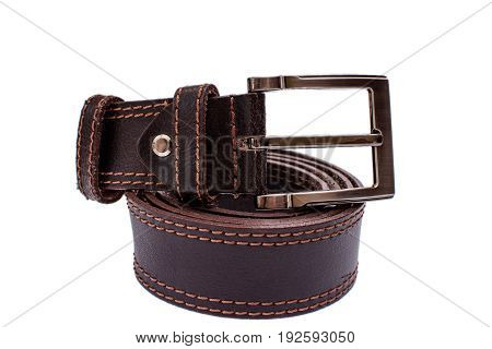 Fashionable Male Brown Gray Leather Belt Isolated On White Background
