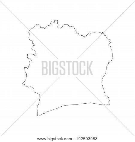 Ivory Coast map on the white background. Vector illustration