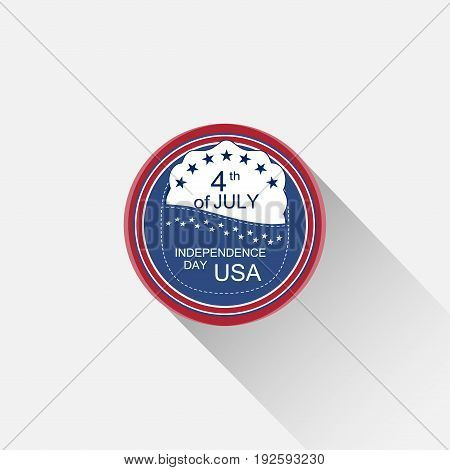 Vector round red and blue web element for Independence Day with blue pocket white insert stars text and long shadow on the light gray background.