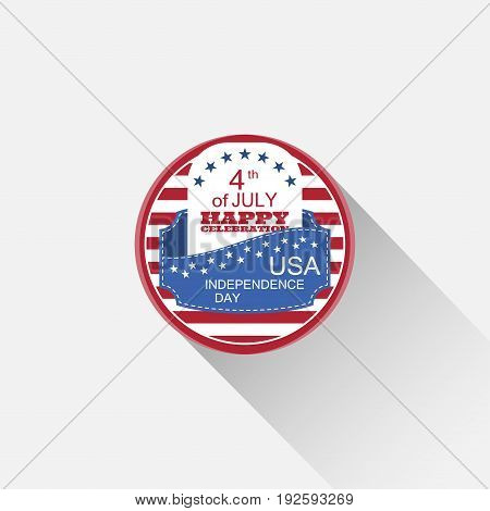 Vector round web element for Independence Day with red stripes blue pocket white insert stars text and long shadow on the light gray background.