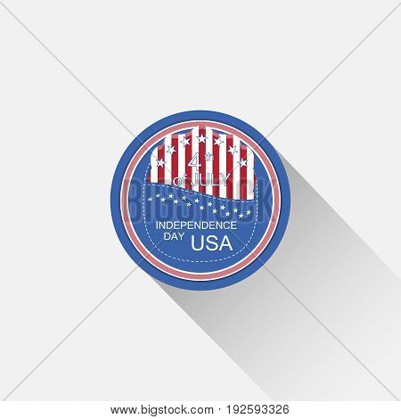 Vector round blue web element for Independence Day with blue pocket insert with american flag stars and long shadow on the light gray background.