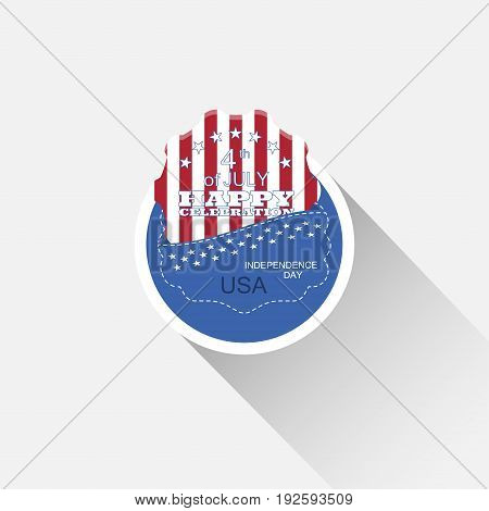 Vector round flat web element for Independence Day with blue pocket insert with american flag and long shadow on the light gray background.