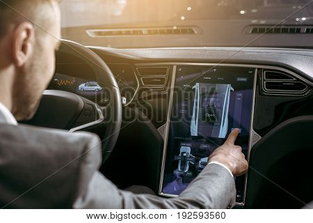 Man transportation by modern eco car control panel