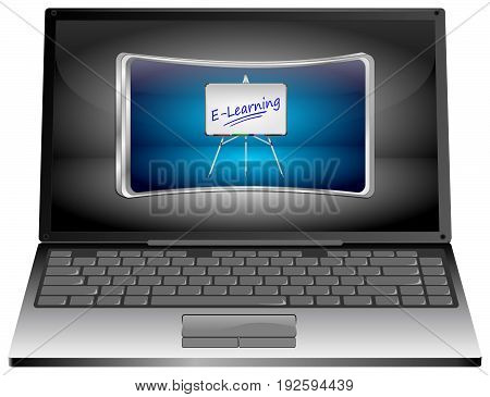 silver Laptop Computer with E-Learning Button - 3D illustration
