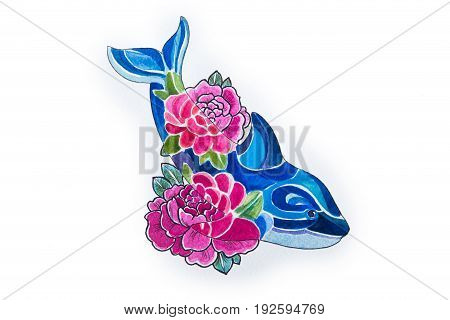 A sketch of a beautiful killer whale in flowers on white background.