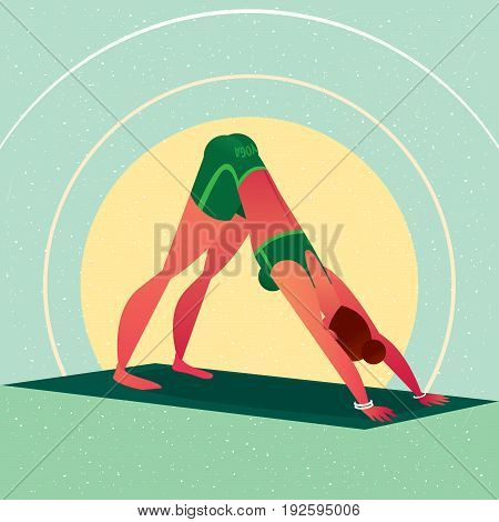 Girl Standing In Yoga Downward-facing Dog Pose