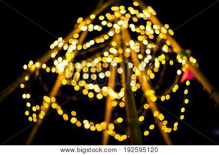 Abstract bokeh background of light for celebration new year and christmas .