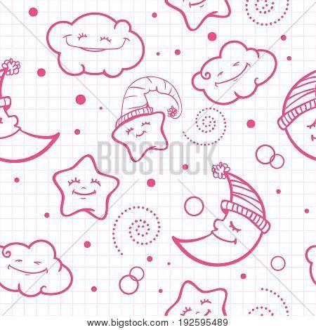 seamless pattern. baby pattern. night pattern. moon and stars