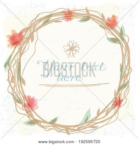 Floral Frame  of cute retro flowers arranged un a shape of the wreath perfect for wedding invitations and birthday cards