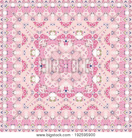 Bright pink colored handkerchief. Rich striking pattern for a scarf. Square ornament in Oriental style. Vector illustration.