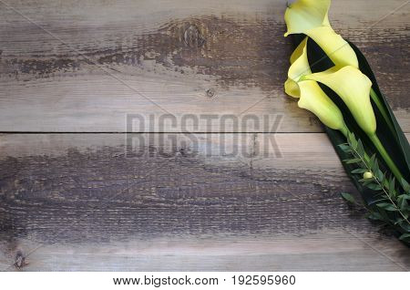 Beautiful calla lilies bouquet on wooden background
