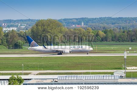 Boeing-767 Airliner Of United Airlines Taxiing In Munich Airport