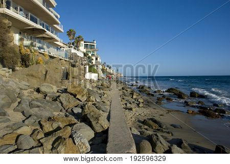 Waterfront houses at Laguna Beach, Orange County - California