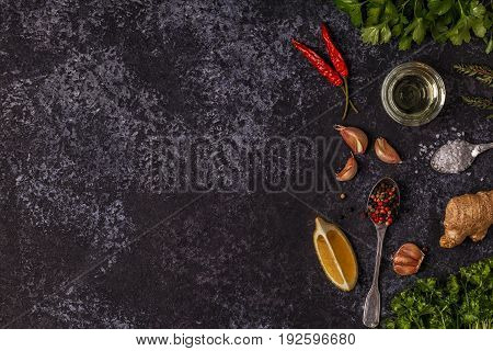 Background With Spices, Herbs And Olive Oil.