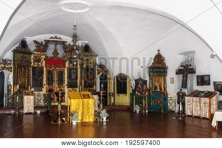 Selco-Karelian village, Russia - November 24, 2013: Interior of the Lower church of the Orthodox Temple of the Resurrection in the village of Selco-Karelian.
