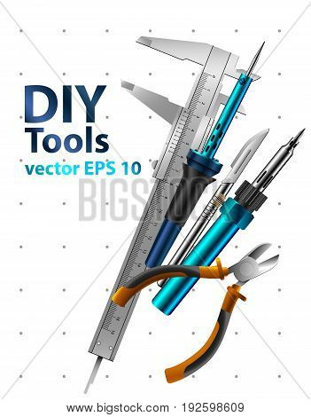 Diy tools vector isolated on white background. Set realistic illustrations.