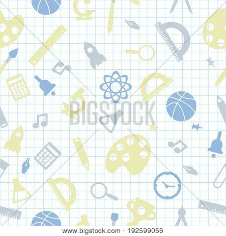 Pattern of welcome back to school with modern thin line icons school supplies
