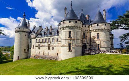 Castle from fairy-tale Chaumont-sur -Loire .Famous Loire valley
