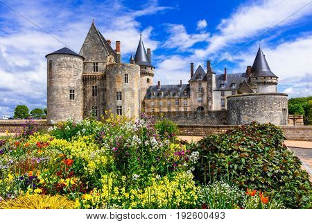 Beautiful medieval castle Sully-sul-Loire. famous Loire valley river, France
