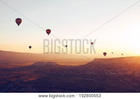 The famous tourist attraction of Cappadocia is an air flight. Cappadocia is known all over the world as one of the best places for flights with balloons. Cappadocia, Goreme, Turkey.