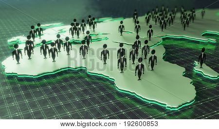 Close up of map with abstract people figures on green grid background. Talent search concept. 3D Rendering
