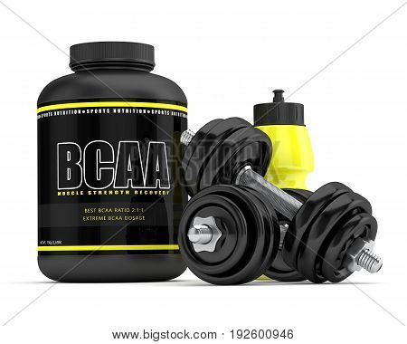 3D Render Of Bcaa Powder With Dumbbells And Water Bottle