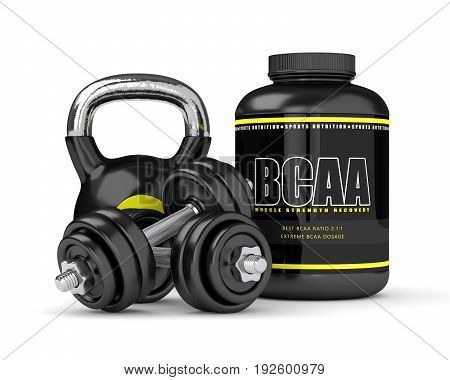 3D Render Of Bcaa Powder With Dumbbells And Kettlebell