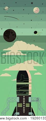 Rocket ship illustration in a flat style. Space rocket launch travel to the moon. Project start up and development process. Innovation product, creative idea. Management.
