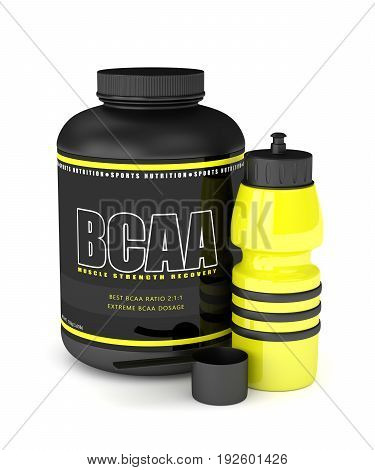 3D Render Of Bcaa Powder With Water Bottle