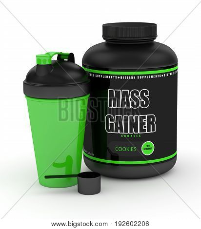 3D Render Of Mass Gainer Powder With Shaker And Spoon